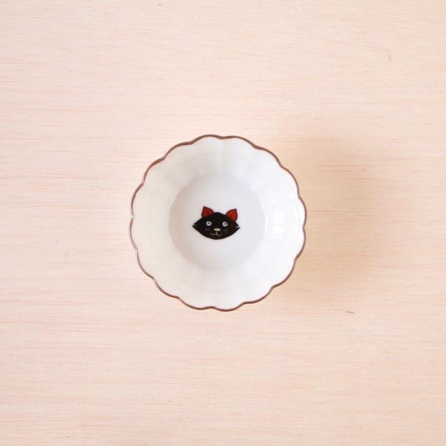 クタニシール 菊小鉢 黒猫