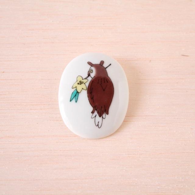 クタニシール 小鳥のブローチ/コノハズク