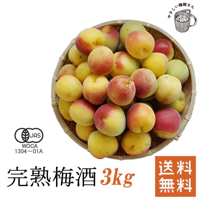 熊野有機栽培生梅(完熟生梅) 梅酒用の完熟生梅(紀州 和歌山県産) 3kg【冷蔵配送料無料】