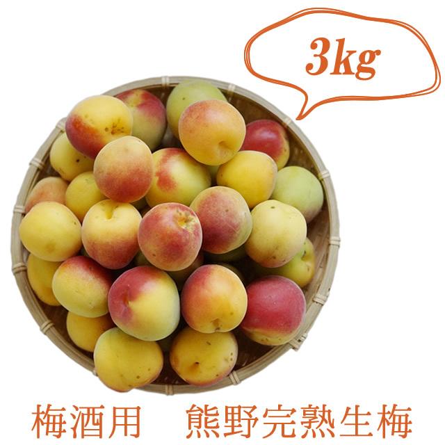 熊野有機栽培生梅(完熟生梅) 梅酒用の完熟生梅(紀州 和歌山県産) 3kg【冷蔵配送】