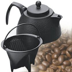 IH対応 南部鉄器 岩鋳 コーヒーポットセット 0.75L(ブラック)  日本製
