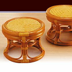ラタン らくらく籐丸椅子 2個組