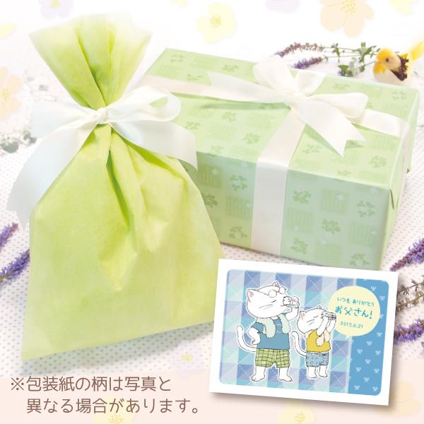 【単品注文不可】無料ラッピング+メッセージカードNo.3「父の日ねこ親子(水色)」