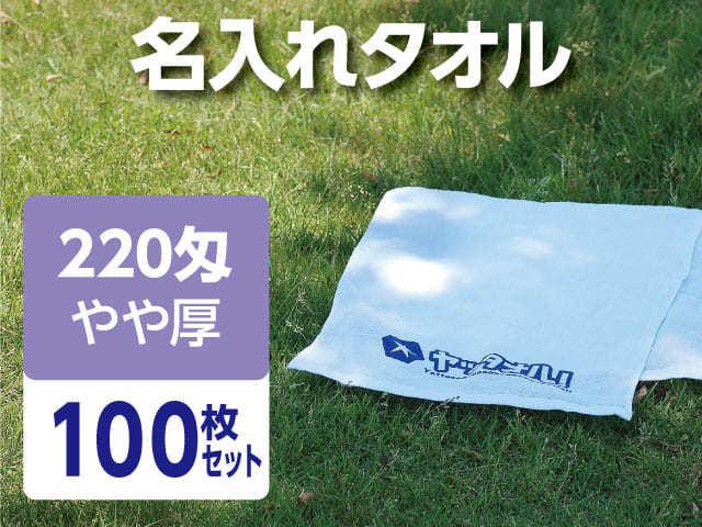 名入れタオル 激安 220匁 やや厚 外国製 100枚セット