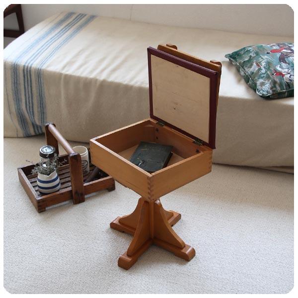 イギリス ヴィンテージ 収納BOX付き回転子供椅子