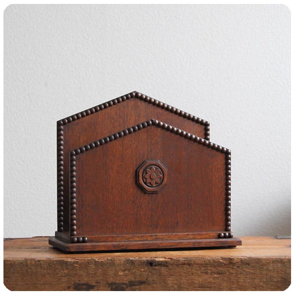 イギリス アンティーク オーク レタースタンド/ラック/ホルダー/ボビン装飾 M-331