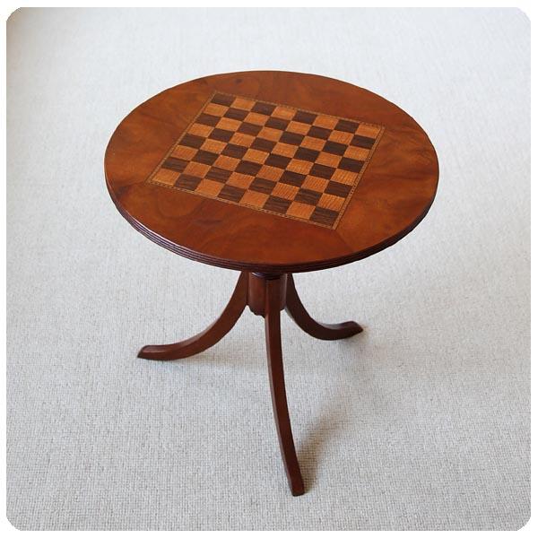 イギリス アンティーク チェステーブル/インレイ/はめ込み装飾/ボード/ゲームテーブル【オシャレなサイドテーブルに】M-482