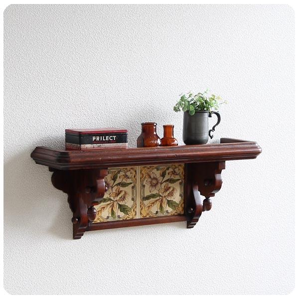 イギリス アンティーク ウォールシェルフ/壁掛け棚/木製/店舗什器/花柄【嵌め込まれたタイルデザインが素敵】M-607