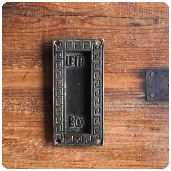 イギリス アンティーク ブラス レタースロット/郵便受け/真鍮製/建具【LETTER BOXのエンボス文字がステキ】M-640