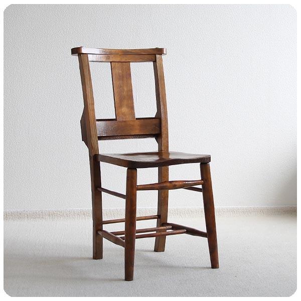 イギリス アンティーク 聖書BOX付きチャーチチェア/教会椅子/カントリー/ダイニングチェア【コンディション良好品】M-708