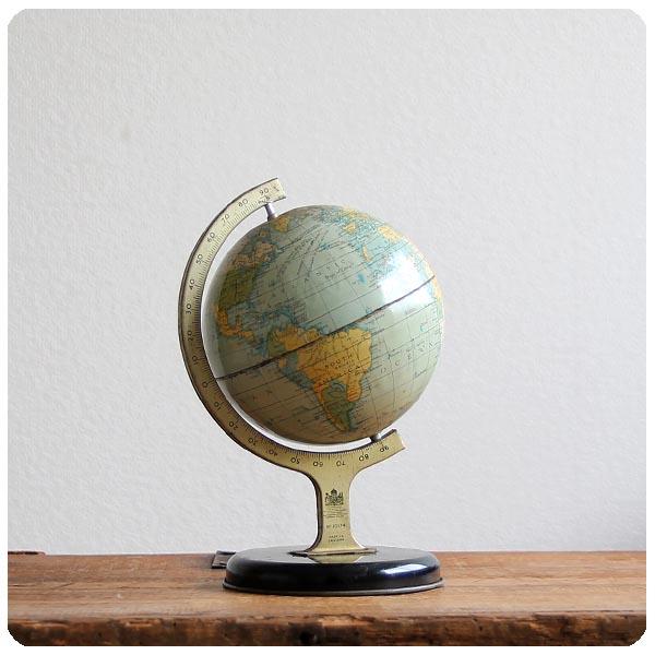 イギリス アンティーク ブリキ製 古い地球儀/CHAD VALLEY/インテリア雑貨/チャドバレー社【ノスタルジック玩具】M-810