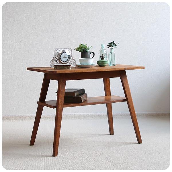 イギリス アンティーク マガジンラック付きサイドテーブル/オーク材/デスク/飾り台【シンプルなデザインの木味テーブル】M-827