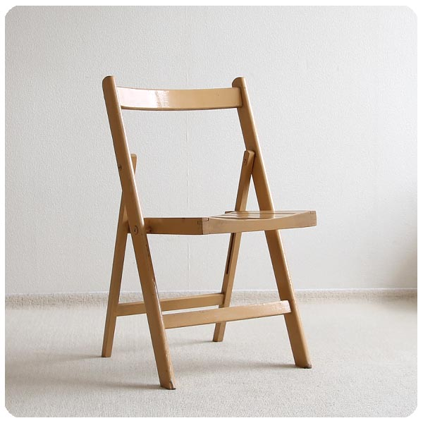 イギリス アンティーク フォールディングチェア/折りたたみ椅子/木製/英国/店舗什器/アトリエ【シャビーなペイントチェア】M-889