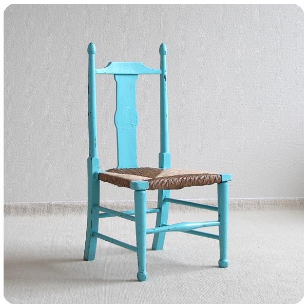 アンティーク ペイントチャイルドチェア/イギリス/家具【ラッシュシートの子供椅子】N-131