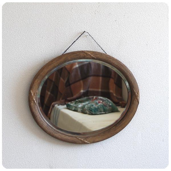 イギリス アンティーク ウォールミラー/オーバル型/壁掛け鏡【お部屋のアクセントに!】N-261