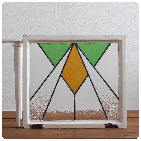 イギリス アンティーク ステンドグラス/鉄枠/扉/ガラス窓/採光/フレーム/窓枠【おしゃれな幾何学模様】N-470