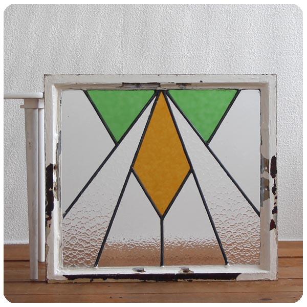 イギリス アンティーク ステンドグラス/鉄枠/扉/ガラス窓/採光/フレーム/窓枠【おしゃれな幾何学模様】N-471