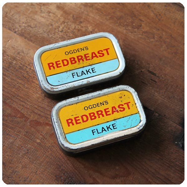 イギリス アンティーク 小さなブリキ缶2個セット/タバコ/ティン/シガレット/TIN/小物ケース【Ogden's Redbreast Flake】S-004
