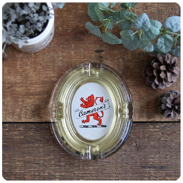 イギリス ヴィンテージ ガラス製 灰皿/アッシュトレイ/コレクタブル/アクセサリートレイ/喫煙具【camerons】S-361