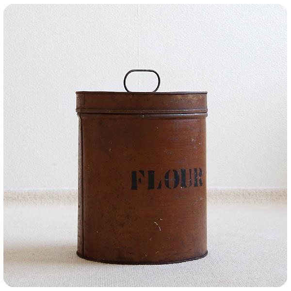 英国 アンティーク フラワー缶/ティン/ブリキ/インテリア雑貨/ブロカント/シャビー/イギリス/収納箱【味のある小麦粉入れ】S-606