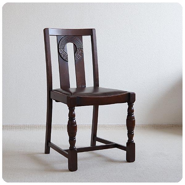 英国 アンティーク ダイニングチェア/オーク/木製椅子/装飾あり/イギリス/店舗什器【うれしいサイドテーブル付き】S-701