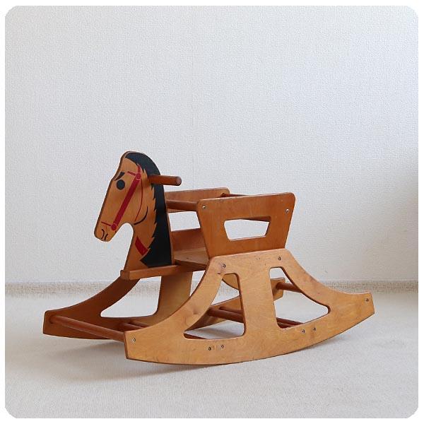 イギリス ヴィンテージ ロッキングホース/木馬/店舗什器/トイ/ベビーチェア/幼児/ディスプレイ【可愛いロッキングチェア】S-869