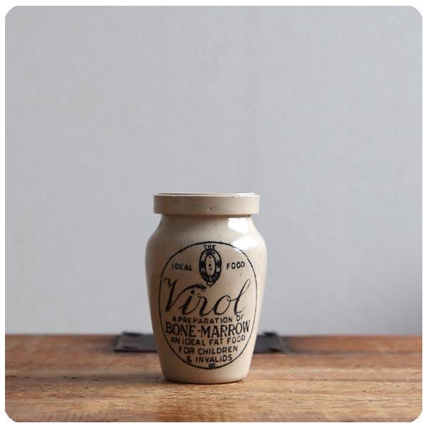 イギリス アンティーク Virol陶器ボトル/ミニサイズ/ヴィロール/ポット/フラワーベース/花器【人気のヴァイロールボトル】S-930