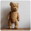 イギリス アンティーク テディベア/ぬいぐるみ/蚤の市/全長約42cm/コレクター品/雑貨【表情がキュートなクマさん】M-486