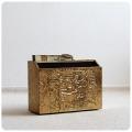 イギリス アンティーク ブラス製マガジンラック/真鍮/新聞・雑誌収納/家具【ゴールドカラー&エンボスデザインが素敵】M-994