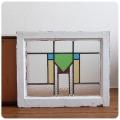 イギリス アンティーク ステンドグラス/木枠/ガラス窓/採光/フレーム/窓枠/建具【おしゃれな幾何学模様】N-697