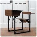 イギリス アンティーク オーク材スクールデスク&チェア/一体型/折りたたみ椅子/机【シャビーなアイアンフレーム】N-798