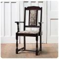 イギリス アンティーク調 アームチェア/クッションチェア/英国椅子【ファブリックの状態良好です!】N-841