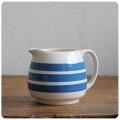 イギリス アンティーク 陶器ミルクジャグ/コーニッシュウェア/食器/花器【定番ブルー&ホワイトのボーダー柄】N-896