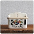 フランス アンティーク 陶器製アリュメットキャニスター/Allumettes(マッチ)入れ/フレンチ/花柄【DITMAR刻印あり】N-932