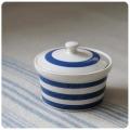 イギリス アンティーク 陶器キャニスター/コーニッシュウェア/食器/ジャー【定番ブルー&ホワイトのボーダー柄】N-974