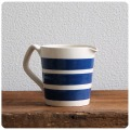 イギリス アンティーク SADLER 陶器ジャグ/コーニッシュウェア/食器/花器【定番ブルー&ホワイトのボーダー柄】N-986