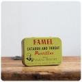 イギリス アンティーク トローチ缶/のど飴/ティン/ブリキ/雑貨/TIN/小物入れ【Famel Catarrh & Throat】S-037