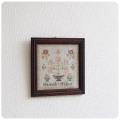 イギリス アンティーク 刺繍額/木枠/ウッドフレーム/絵画/ディスプレイ/ニードルポイント【お部屋のインテリアに】S-086