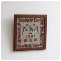 イギリス アンティーク 刺繍額/木枠/ウッドフレーム/絵画/ディスプレイ/ニードルポイント【お部屋のインテリアに】S-087