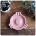 イギリス アンティーク 陶器製灰皿/アッシュトレイ/コレクタブル/アクセサリートレイ/喫煙具【かわいいピンク色】S-280