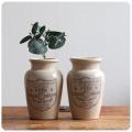 イギリス アンティーク 陶器クリームボトルペア/2個セット/インテリア雑貨/フラワーベース/花器【PURE THICK CREAM】S-415