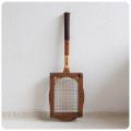 イギリス ビンテージ 木製 テニスラケット/ラケットプレス付き/インテリア/カバー/木枠【雰囲気つくりのディスプレイに】S-681