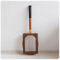 イギリス ビンテージ 木製 テニスラケット/ラケットプレス付き/インテリア/カバー/木枠【雰囲気つくりのディスプレイに】S-682