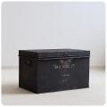 英国 アンティーク スチールボックス/書類保管金庫/道具箱/ブロカント/インダストリアル/イギリス【ブラックカラー】S-689