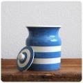 イギリス アンティーク T.G.GREEN 陶器キャニスター/コーニッシュウェア/食器【定番ブルー&ホワイトのボーダー柄】Y-234