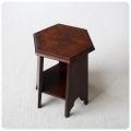 イギリス アンティーク 六角形ミニテーブル/オーク材/無垢/英国家具/花台【古い木肌が素敵なテーブル】Y-354
