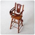 イギリス アンティーク 木製ドールチェア/2way/おもちゃ/カート付き/ディスプレイ【ハイチェアとプレイチェア】Y-454