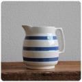 イギリス アンティーク CHEF WARE 陶器ミルクジャグ/コーニッシュウェア/食器【定番ブルー&ホワイトのボーダー柄】Y-547