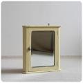 イギリス アンティーク ミラー付きウォールスモールキャビネット/ペイント/鏡/収納【小さな壁掛けコーナー家具】Y-887