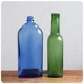 イギリス アンティーク ガラスボトルペア/2本セット/ブロカント/薬瓶/店舗什器/ディスプレイ【一輪挿しにいかがですか?】Z-255